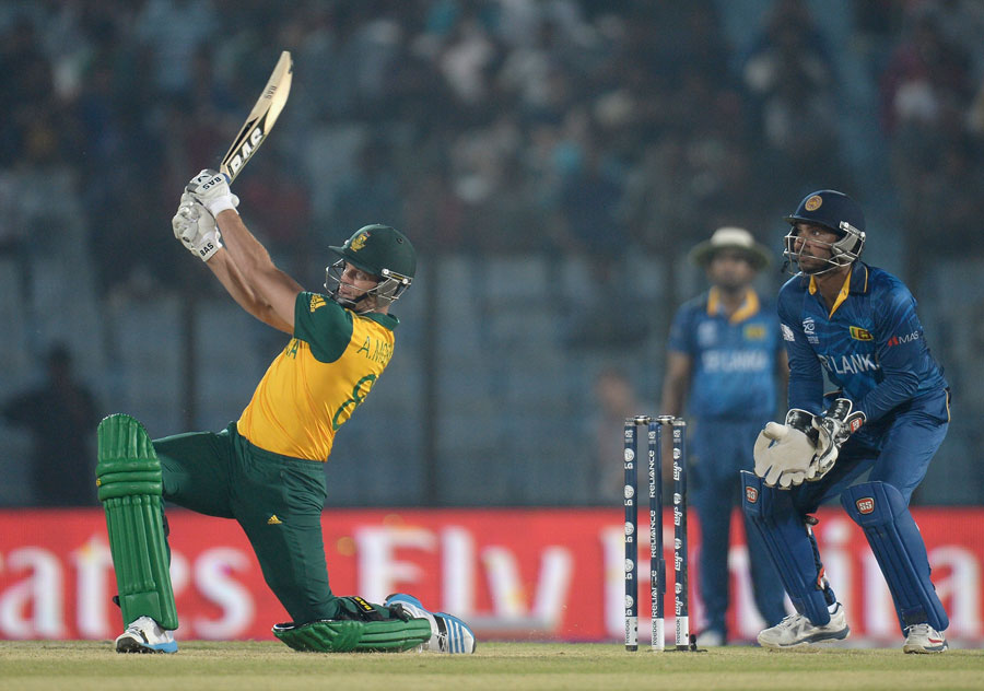 Albie Morkel swings the ball over midwicket, South Africa v Sri Lanka, World T20, Group 1, Chittagong, March 22, 2014