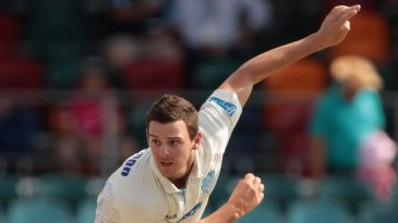 Josh Hazlewood sends down a delivery