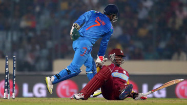 Marlon Samuels is stumped by MS Dhoni