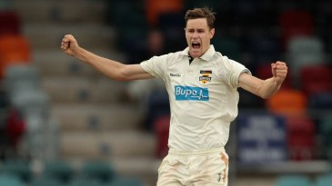 Jason Behrendorff celebrates a wicket