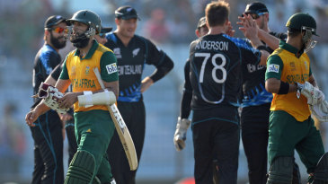 Hashim Amla was dismissed by Corey Anderson for 41