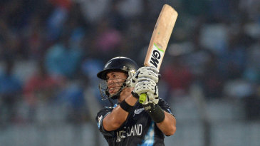 Ross Taylor hits a six down the ground
