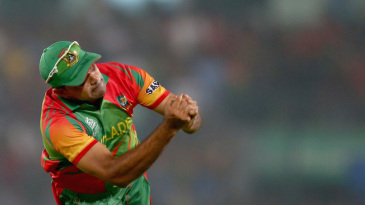 Ziaur Rahman is not able to hold on to a tough chance