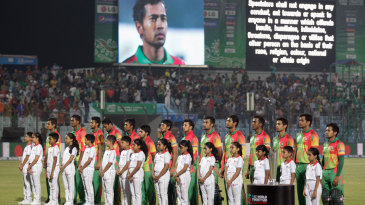 Bangladesh's players sing their national anthem
