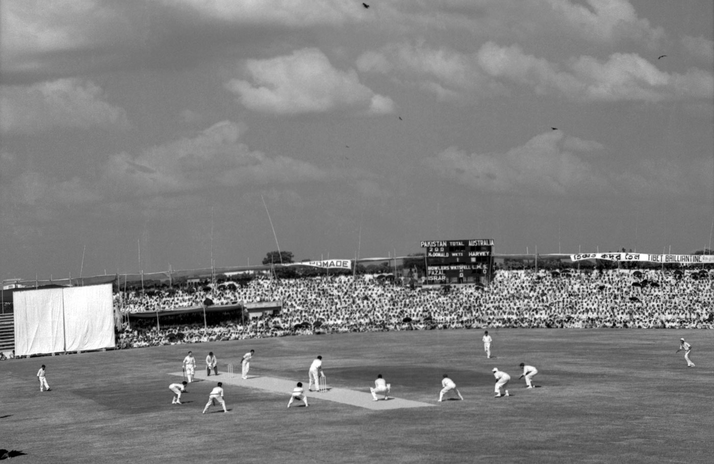 A Test match in Dhaka (then Dacca) between Pakistan and Australia in 1959. Before Bangladesh was created in 1971, the region was known as East Pakistan