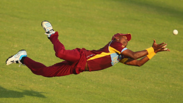Dwayne Bravo has his eyes firmly on the ball