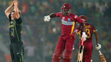 James Faulkner reacts after Darren Sammy finishes the match with a six