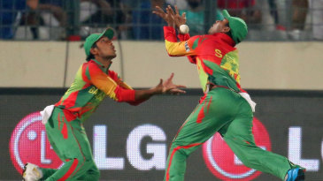 Anamul Haque and Sohag Gazi nearly collided while attempting a catch