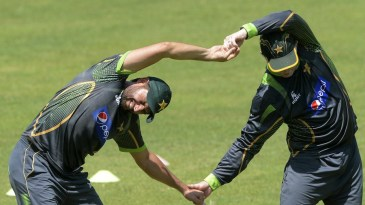 No pain, no gain: Shahid Afridi winces while stretching