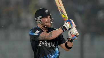 Brendon McCullum plays a pick-up shot to the leg side
