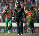 Abdur Razzak celebrates the wicket of Mohammad Hafeez, Bangladesh v Pakistan, World Twenty20, Group 2, Mirpur, March 30, 2014