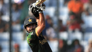 Ahmed Shehzad belts the ball over the top