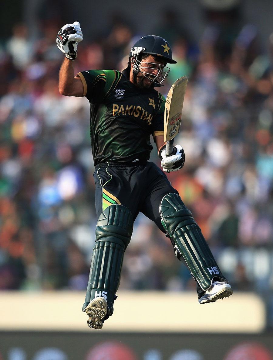 Ahmed Shehzad celebrates Pakistan's maiden T20 hundred