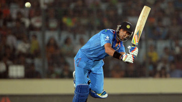 Yuvraj Singh plays a pick-up shot off his toes
