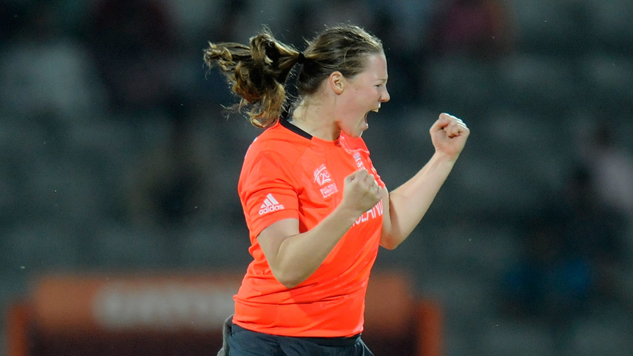 Anya Shrubsole is ecstatic after a wicket