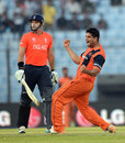Mudassar Bukhari roars after dismissing Michael Lumb, England v Netherlands, World T20, Group 1, Chittagong, March 31, 2014