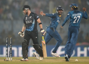 Brendon McCullum was stumped, New Zealand v Sri Lanka, World T20, Group 1, Chittagong, March 31, 2014