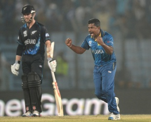 Rangana Herath had figures of 5 for 3, New Zealand v Sri Lanka, World T20, Group 1, Chittagong, March 31, 2014
