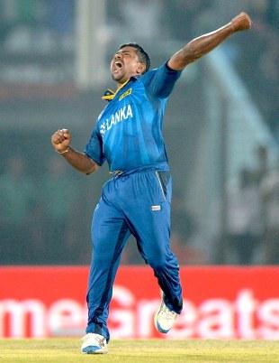 Rangana Herath roars in celebration, New Zealand v Sri Lanka, World T20, Group 1, Chittagong, March 31, 2014