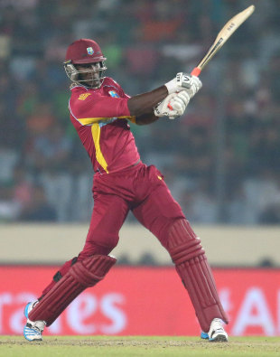 Darren Sammy finished the innings with an electric 42 off 20 balls, Pakistan v West Indies, World T20, Group 2, Mirpur, April 1, 2014