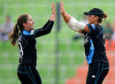 Felicity Leydon-Davis celebrates after dismissing Yasoda Mendis, New Zealand v Sri Lanka, Women's World T20, WT20 2016 Qualification Playoff, Sylhet, April 2, 2014