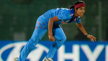 India's Shubhlakshmi Sharma after delivering the ball