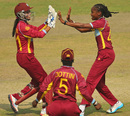 Merissa Aguilleira and Shaquana Quintyne celebrate a wicket, Australia v West Indies, Women's World T20, 1st semi-final, Mirpur, April 3, 2014