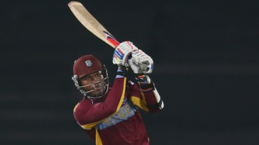 Marlon Samuels hits through the leg side