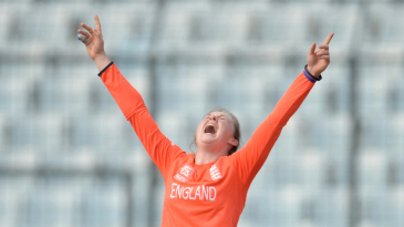 Rebecca Grundy is ecstatic after a wicket