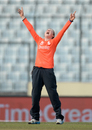 Rebecca Grundy is ecstatic after a wicket, England v South Africa, Women's World T20, semi-finals, Mirpur, April 4, 2014