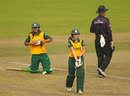 Sune Luus was run-out after a collision with Chloe Tryon, England v South Africa, Women's World T20, semi-finals, Mirpur, April 4, 2014