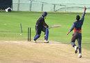 Karnataka's K Gowtham was bowled by Sayed Badiuzzama, Goa v Karnataka, Syed Mushtaq Ali Trophy, Visakhapatnam, April 4, 2014