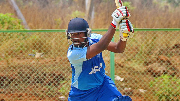 Prasanth Kumar drives during his unbeaten 33