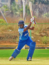 Prasanth Kumar drives during his unbeaten 33, Andhra v Hyderabad, Syed Mushtaq Ali Trophy, Vizianagaram, April 4, 2014