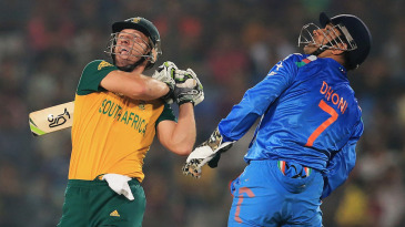 AB de Villiers top-edged a pull and was caught at the boundary