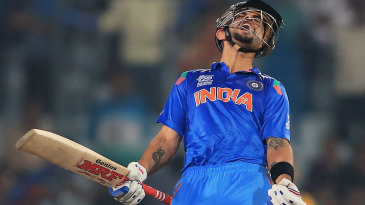 Virat Kohli lets out a cry after hitting the winning runs