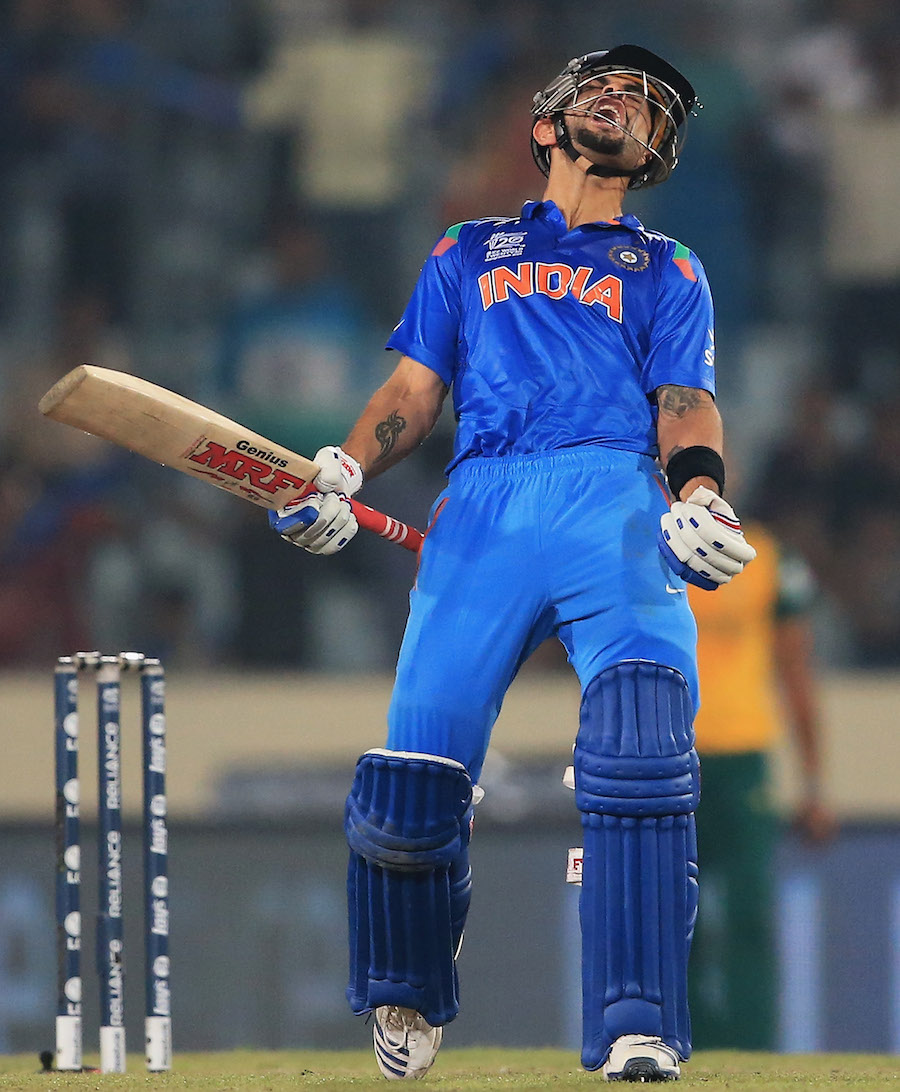 Virat Kohli lets out a cry after hitting the winning runs