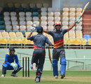 Goa's Amit Yadav celebrates after hitting a six of the last ball to seal a thriller, Goa v Hyderabad, Syed Mushtaq Ali Trophy, Visakhapatnam, April 5, 2014