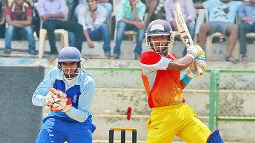Kerala's Vishnu Vinod plays through the off side