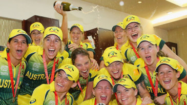 Australia Women take the celebrations up to the changing room