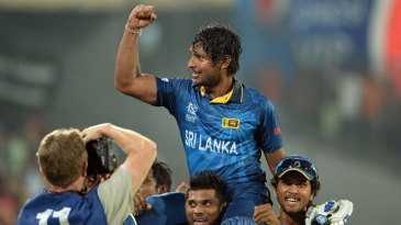 Kumar Sangakkara is carried around the field after winning the World T20
