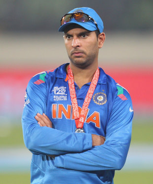 Yuvraj Singh is the picture of dejection after his 21-ball ordeal at the crease sapped India's momentum and played a massive role in their World T20 final defeat