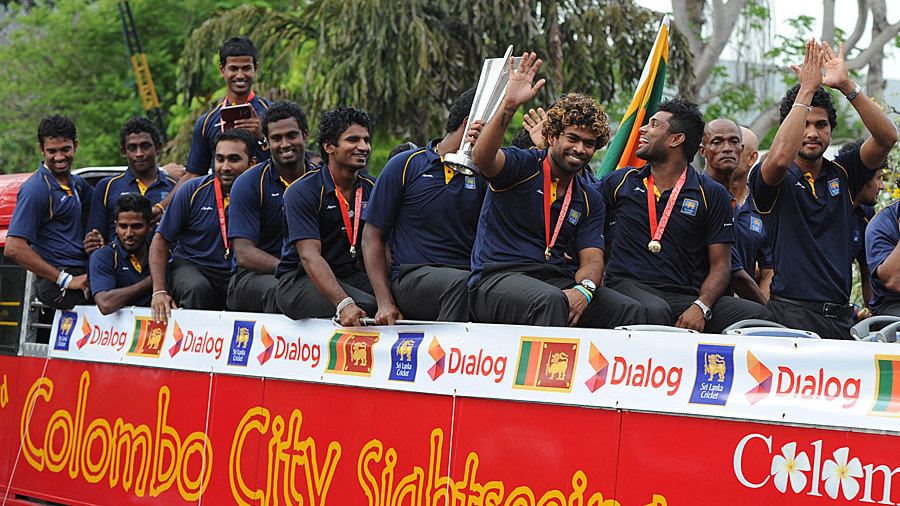 The Sri Lankan players returned home to an open-top bus parade