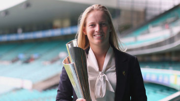 Australia Women's captain Meg Lanning holds up the World T20 trophy