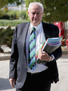 Cricket Australia chairman Wally Edwards arrives for the ICC Board meeting, Dubai, April 9, 2014