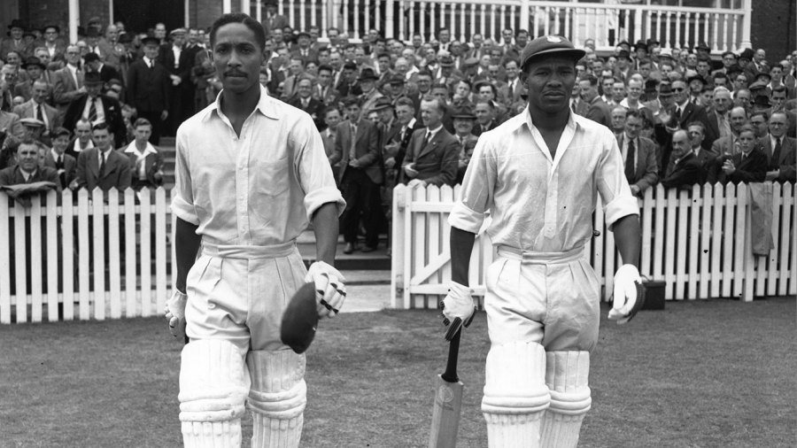 Frank Worrell (left) and Everton Weekes walk out to bat