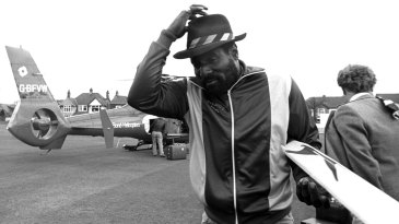 Viv Richards arrives by helicopter at the Rishton club ground