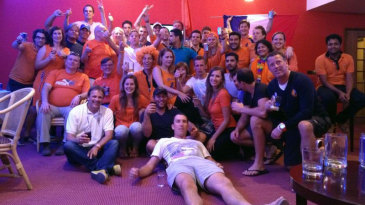 Netherlands' players and supporters celebrate their win over Ireland