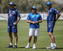John Wright, Sachin Tendulkar and Anil Kumble at the Mumbai Indians' nets, Abu Dhabi, April 15, 2014