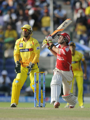 Glenn Maxwell used the switch hit to devastating effect, Chennai v Punjab, Indian T20 league, Abu Dhabi, April 18, 2014